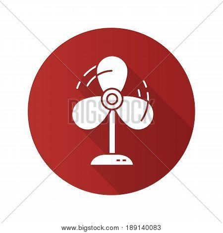 Fan flat design long shadow icon. Ventilator. Vector silhouette symbol