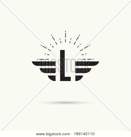 Elegant dynamic alphabet letters with wings. Monogram wing logo mockup. Creative design element. Corporate branding identity. Vector template. Letter l