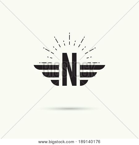 Elegant dynamic alphabet letters with wings. Monogram wing logo mockup. Creative design element. Corporate branding identity. Vector template. Letter n