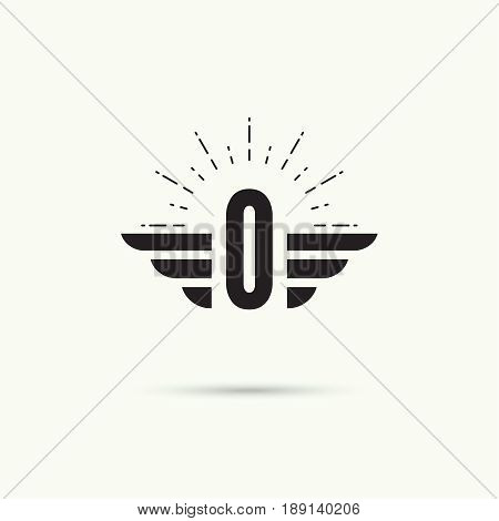 Elegant dynamic alphabet letters with wings. Monogram wing logo mockup. Creative design element. Corporate branding identity. Vector template. Letter o