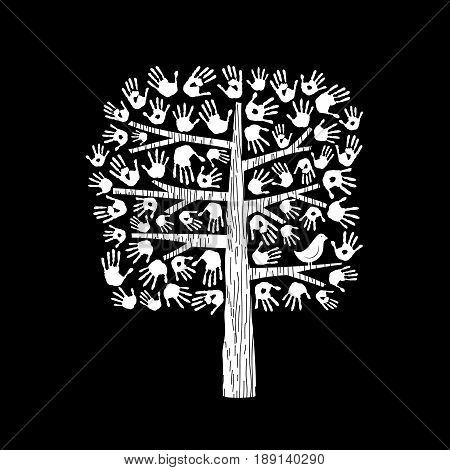 Hand Tree In Black And White For Community Help
