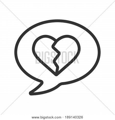 Breakup message linear icon. Thin line illustration. Chat box with heartbreak contour symbol. Vector isolated outline drawing