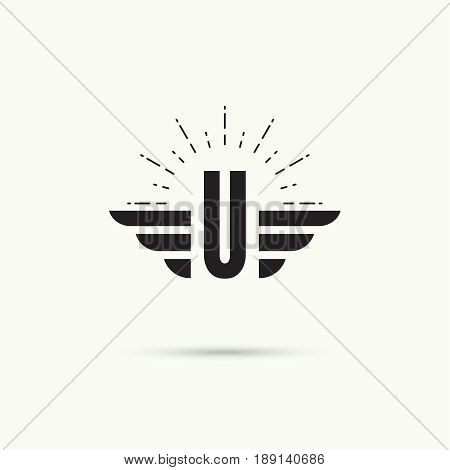 Elegant dynamic alphabet letters with wings. Monogram wing logo mockup. Creative design element. Corporate branding identity. Vector template. Letter u