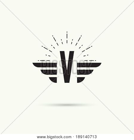 Elegant dynamic alphabet letters with wings. Monogram wing logo mockup. Creative design element. Corporate branding identity. Vector template. Letter v
