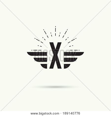 Elegant dynamic alphabet letters with wings. Monogram wing logo mockup. Creative design element. Corporate branding identity. Vector template. Letter x
