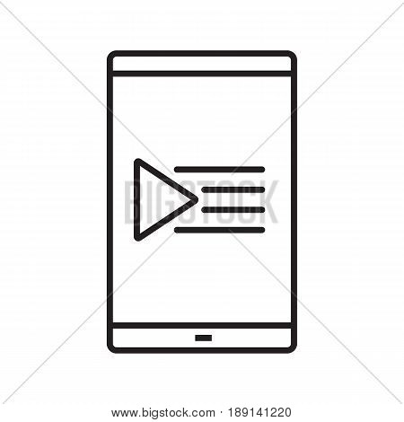 Smartphone playlist linear icon. Thin line illustration. Smart phone with music play list contour symbol. Vector isolated outline drawing