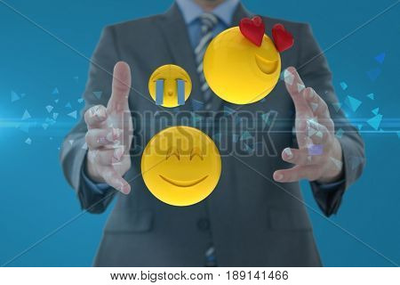 Digital composite of Composite image of man and smileys in 3d