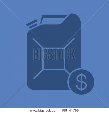 Petrol trade glyph color icon. Silhouette symbol. Gas station. Petroleum jerrycan with dollar sign. Negative space. Vector isolated illustration