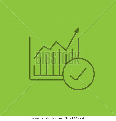 Market growth chart color linear icon. Statistics diagram with tick mark. Thin line contour symbols on color background. Vector illustration