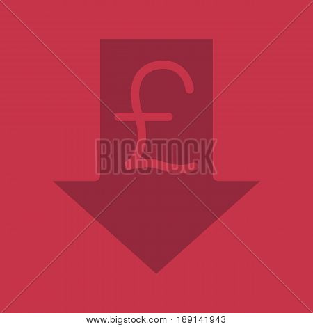 Pound rate falling glyph color icon. Silhouette symbol. Great Britain pound with down arrow. Negative space. Vector isolated illustration