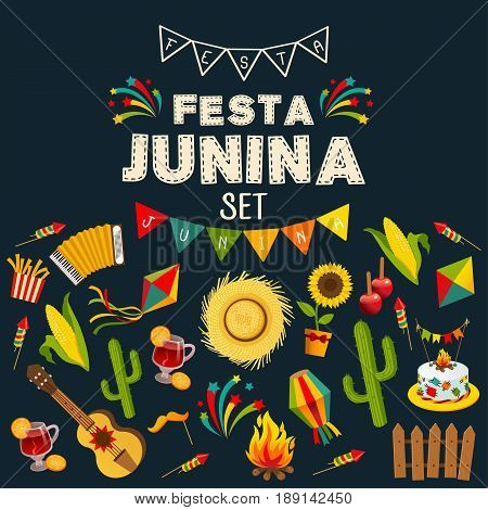Festa junina background with decorative frame consisting of traditional celebration symbols flat vector illustration