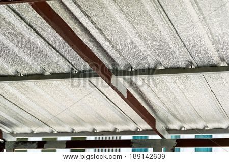 Close up under the roof sheet metal sheet thermal insulation.