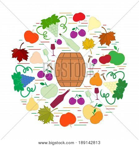 Autumn Symbols In Circle. Barrel, Corkscrew, Wine Glass, Pear, Plum, Grapes And Other Fall Symbol  F