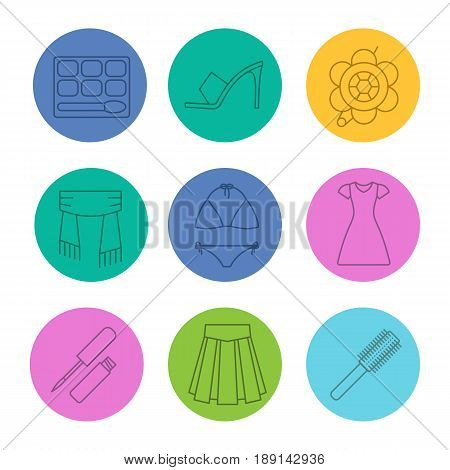 Women's accessories linear icons set. Eye shadow, high heel shoe, brooch, scarf, swimsuit, sun frock, lip gloss, skirt, hair brush. Thin line contour symbols on color circles. Vector illustrations