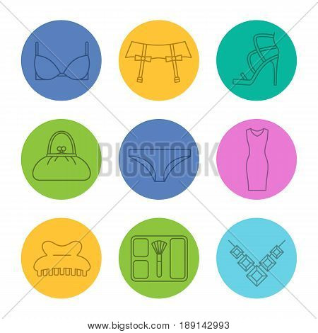 Women's accessories linear icons set. Bra and panties, underwear garters, high heel shoe, purse, evening dress, blusher, necklace. Thin line contour symbols on color circles. Vector illustrations