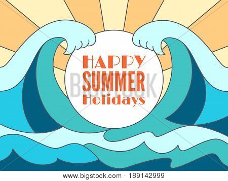 Happy summer holidays banner design with white circle for text and blue water surface.Flat abstract big waves of the sea or ocean landscape.Vector background.