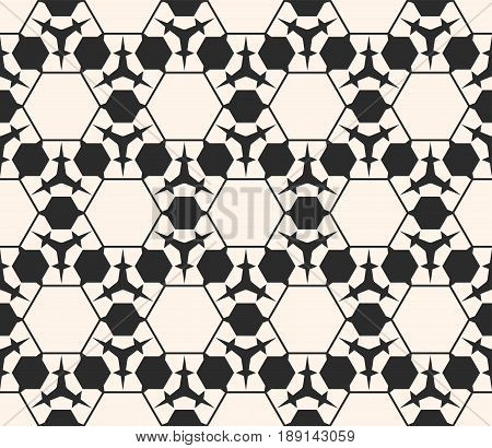 Vector monochrome seamless pattern. Abstract geometric background. Delicate linear texture, prickly figures triangles hexagons seamless pattern. Subtle hexagonal grid texture. Repeat design for prints background texture, digital seamless pattern, web.