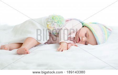 Cute sleeping infant newborn baby over white
