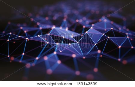 3D illustration. Abstract background connection and lines of technology.