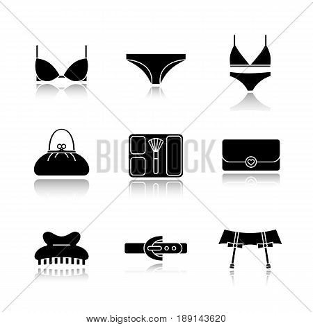 Women's accessories drop shadow black icons set. Underwear garters, bra and panties, clutch, purse, blusher, claw hair clip, leather belt. Isolated vector illustrations
