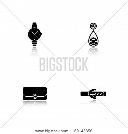 Women's accessories drop shadow black icons set. Wristwatch, earring, clutch, leather belt. Isolated vector illustrations