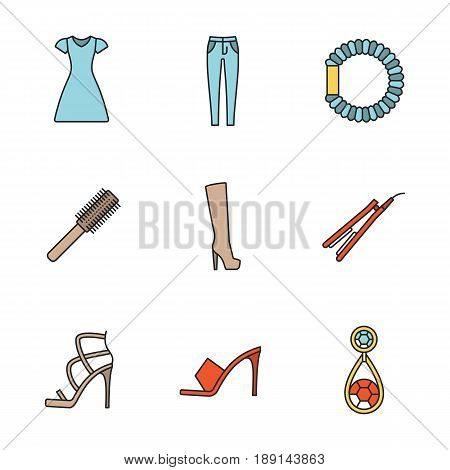 Women's accessories color icons set. Sun frock, skinny jeans, hair scrunchy, straightener and brush, high heel boot and shoes, earring. Isolated vector illustrations