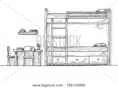 Children's room. Children's furniture. Bunk bed table and two chairs. Hand drawn vector illustration of a sketch style.