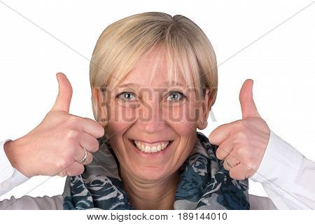 optimistic blonde european woman gives thumbs up and smiles - isolated on white background