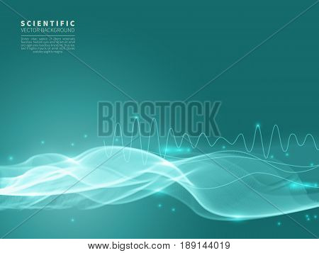 Scientific abstract vector background with blue wave and the schedule of frequencies