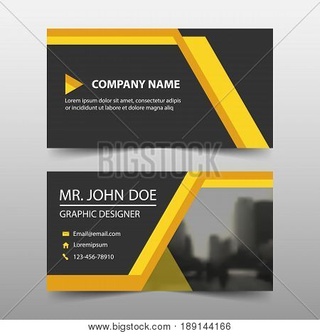 Yellow corporate business card name card template horizontal simple clean layout design template Business banner template for website