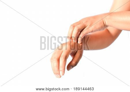 Close up of people scratch itch hand on gray background
