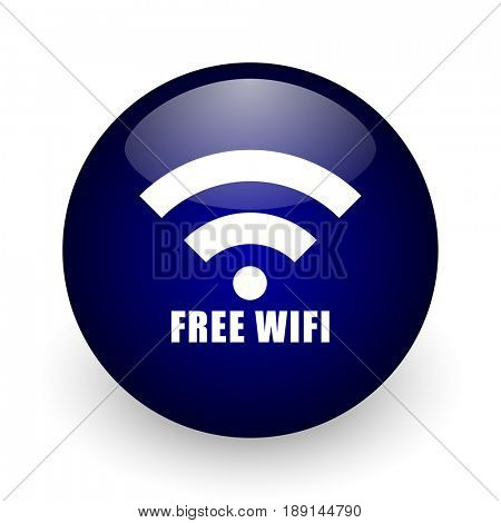 Free wifi blue glossy ball web icon on white background. Round 3d render button.