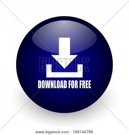 Download for free blue glossy ball web icon on white background. Round 3d render button.