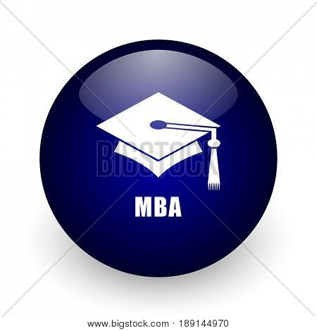 Mba blue glossy ball web icon on white background. Round 3d render button.