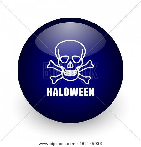 Haloween skull blue glossy ball web icon on white background. Round 3d render button.