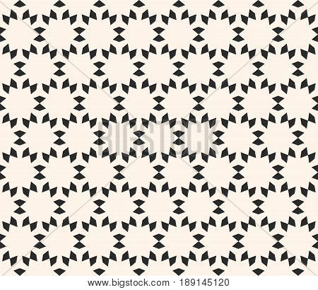 Vector seamless texture, floral tile pattern. Abstract monochrome geometric background, simple geometrical shapes flowers stars seamless pattern. Oriental design element for decor, printing seamless background, embossing, fabric pattern vector.
