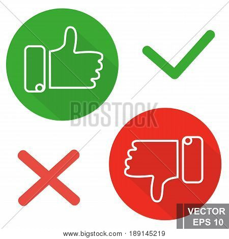 Vector Icons Isolated On White Background. Likes And Dislikes