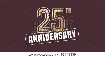 25 years anniversary vector icon, logo. Graphic design element with golden stamp for 25th anniversary decoration