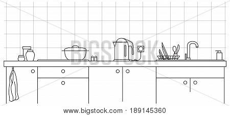 Kitchen sink. Kitchen worktop with sink and plate in line style.
