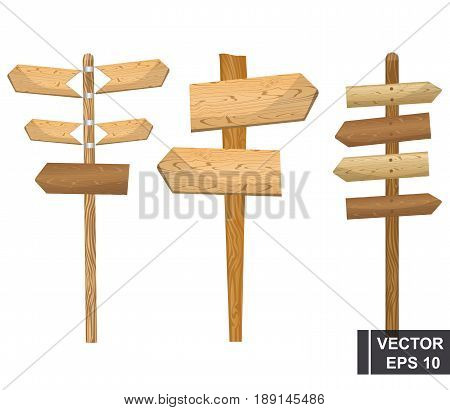 Set Of Cartoon Index Boards. Isolated Over White Background