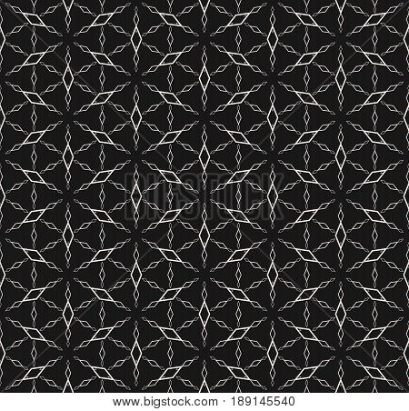 Rhombuses geometric pattern, vector monochrome seamless texture, thin linear figures outline shapes triangular grid background. Abstract subtle background repeat tiles. Dark design for decor, prints seamless pattern, web texture.