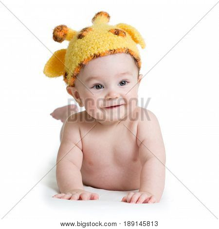Child baby boy weared giraffe hat, isolated on white
