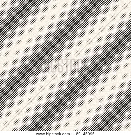 Vector monochrome halftone seamless pattern, different sized circles & dots diagonal lines abstract background. Morphing texture. Modern abstract background. Square design element for prints, covers, digital halftone background, web, decor.