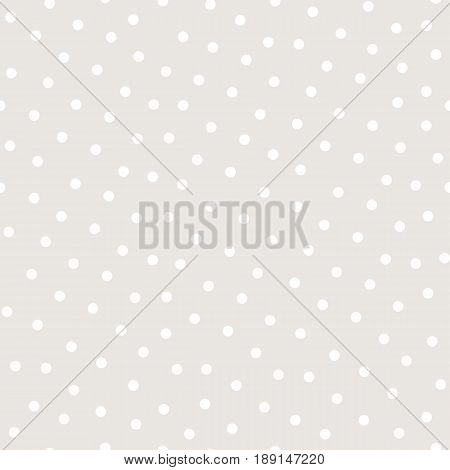 Polka dot seamless pattern, vector monochrome subtle texture, soft pastel colors white & beige background. Abstract repeat background with randomly scattered circles. Design for prints dot pattern, textile seamless pattern, invitations.