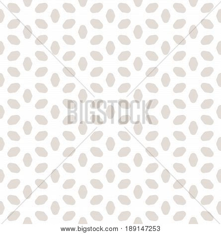 Vector seamless pattern, pastel colors beige & white abstract background. Geometric minimalist texture with smooth flower silhouettes. Abstract ornamental background. Monochrome design for print, decor, bedding, cloth seamless pattern.
