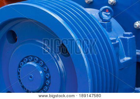 Big steel gear shot close-up photo Machines Cogwheel