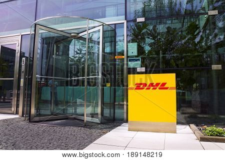Prague, Czech Republic - May 22: Dhl Logistics Company Logo On The Headquarters Building On May 22,
