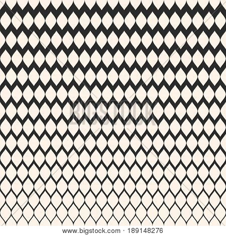Halftone seamless pattern, vector monochrome texture with gradient transition effect from dark to light abstract background. Illustration of mesh lattice tissue. Abstract repeat background. Design for prints background texture, covers seamless pattern.