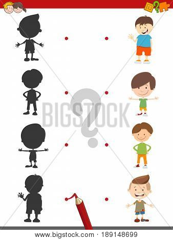 Cartoon Illustration of Join the Shadow with Boy Character Educational Activity for Children