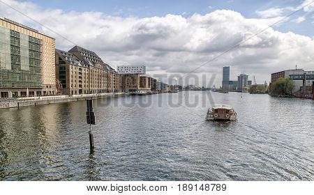 BERLIN GERMANY - APRIL 8: Boat on river Spree on April 8 2017 in Berlin